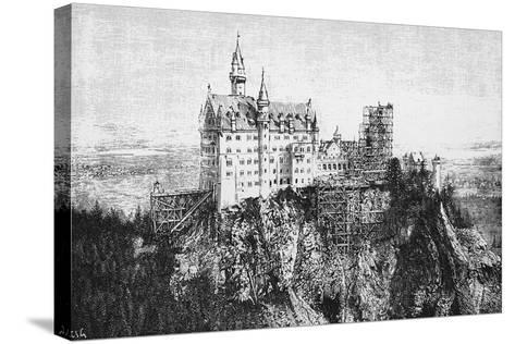 View of Neuschwanstein Castle under Construction, Bavaria, Germany--Stretched Canvas Print
