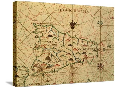Map of Sicily Region, Detail from Portolan Chart--Stretched Canvas Print