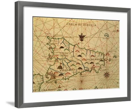 Map of Sicily Region, Detail from Portolan Chart--Framed Art Print
