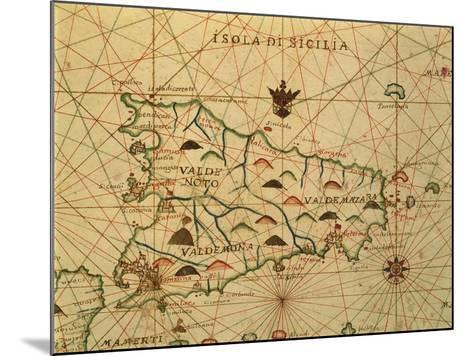 Map of Sicily Region, Detail from Portolan Chart--Mounted Giclee Print