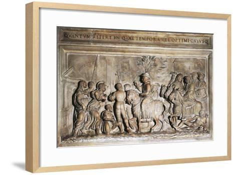 Pope Adrian VI's Entering Rome in 1522, Bas-Relief, Italy, 16th Century--Framed Art Print