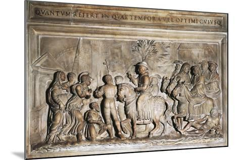 Pope Adrian VI's Entering Rome in 1522, Bas-Relief, Italy, 16th Century--Mounted Giclee Print
