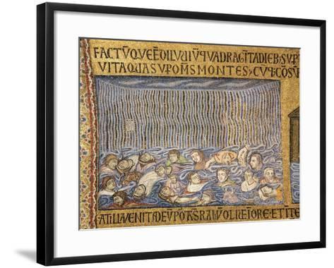 Italy, Venice, St Mark's Basilica, Deluge, Narthex Mosaic,13th Century--Framed Art Print