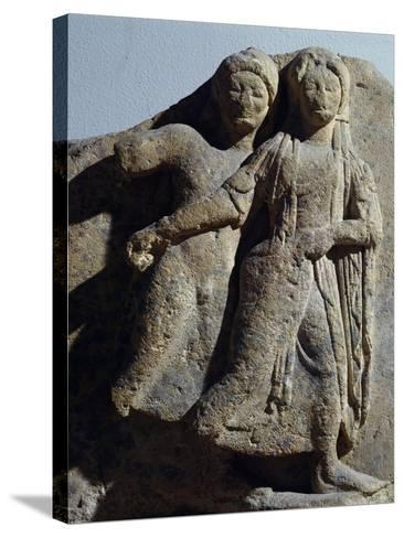 Metope with Relief Depicting Dancing Scene, from Selinunte, Sicily, Italy--Stretched Canvas Print