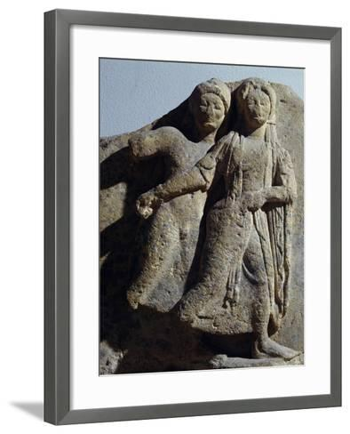 Metope with Relief Depicting Dancing Scene, from Selinunte, Sicily, Italy--Framed Art Print