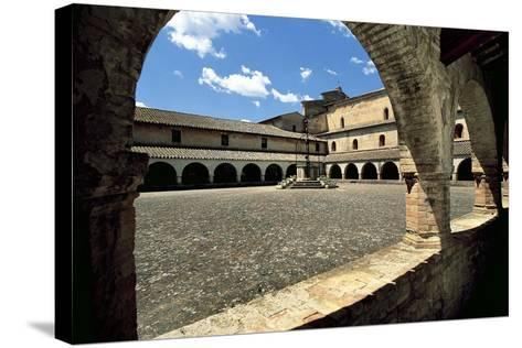 View of Cloister Courtyard, Chiaravalle Abbey, Fiastra, Tolentino, Marche, Italy--Stretched Canvas Print