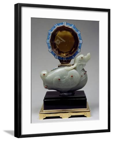 Pendulum Clock Mounted on Jade Chinese Duck, Topaz with Clock Face, Hands and Diamond Bezel Tuchese--Framed Art Print