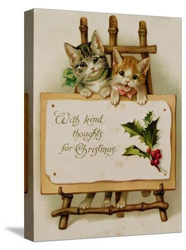 Kittens, Victorian Card--Stretched Canvas Print