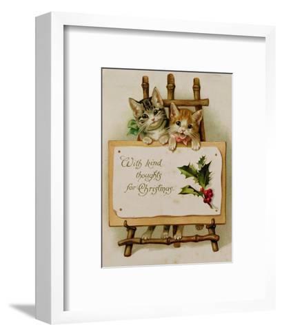 Kittens, Victorian Card--Framed Art Print