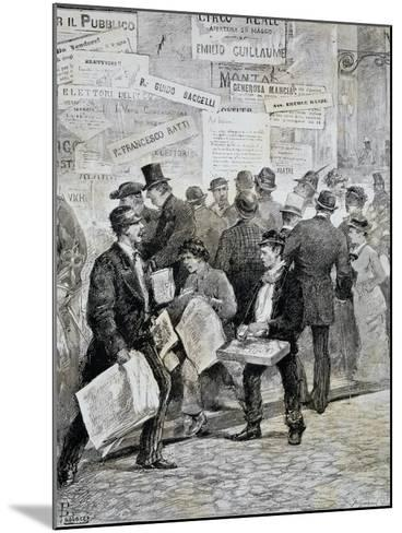 Newspaper Sellers in Rome before Election--Mounted Giclee Print