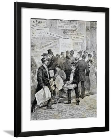 Newspaper Sellers in Rome before Election--Framed Art Print