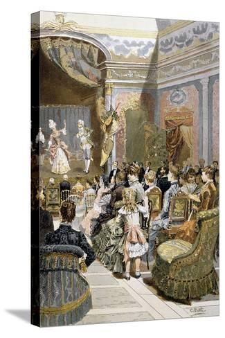 Theatre Scene with Actors and Audiences, France--Stretched Canvas Print