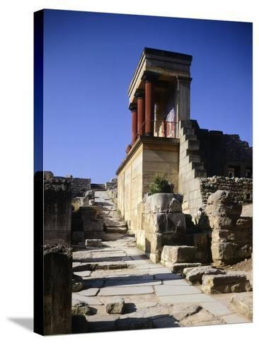 Greece, Crete, Foreshortening of Knossos Palace, Minoan Civilization, 16th Century BC--Stretched Canvas Print