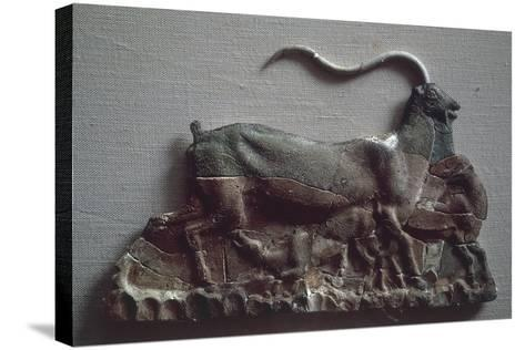 Relief Depicting Goat Suckling Her Kid, Ceramic, from Knossos--Stretched Canvas Print