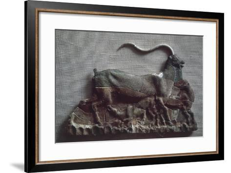 Relief Depicting Goat Suckling Her Kid, Ceramic, from Knossos--Framed Art Print