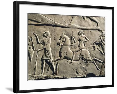 Life in a Military Camp: Horseman Galloping, Relief from the Tomb of Horemheb at Saqqara, Detail--Framed Art Print