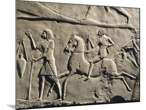 Life in a Military Camp: Horseman Galloping, Relief from the Tomb of Horemheb at Saqqara, Detail--Mounted Giclee Print