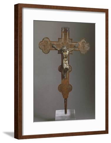 Embossed Copper Cross--Framed Art Print