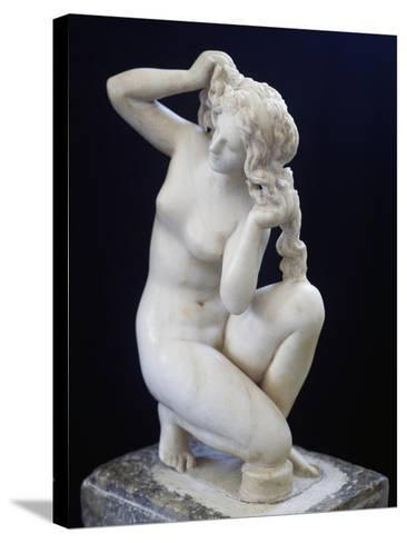Statue of Aphrodite Bathing, Roman Copy in Marble of the Hellenistic Original BC--Stretched Canvas Print
