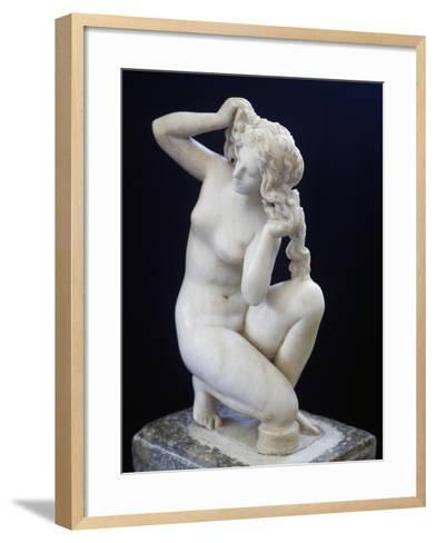 Statue of Aphrodite Bathing, Roman Copy in Marble of the Hellenistic Original BC--Framed Art Print