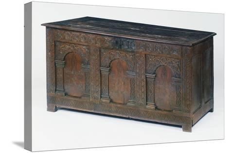 Carved and Inlaid Oak Chest, Circa 1600-1610, United Kingdom--Stretched Canvas Print