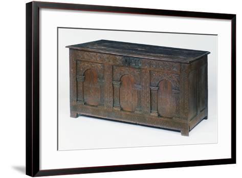 Carved and Inlaid Oak Chest, Circa 1600-1610, United Kingdom--Framed Art Print