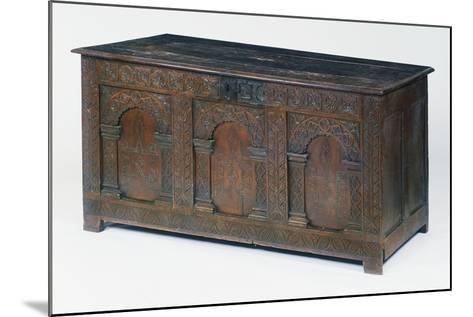 Carved and Inlaid Oak Chest, Circa 1600-1610, United Kingdom--Mounted Giclee Print