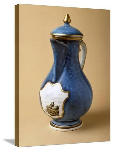 Turquoise Coffee Pot and Lid, 1745-1750, Porcelain--Stretched Canvas Print