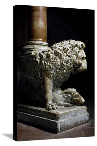 Lion Culmiferous, Pulpit, Wall, Church of St John Fuorcivitas, Pistoia, Tuscany, Italy,--Stretched Canvas Print