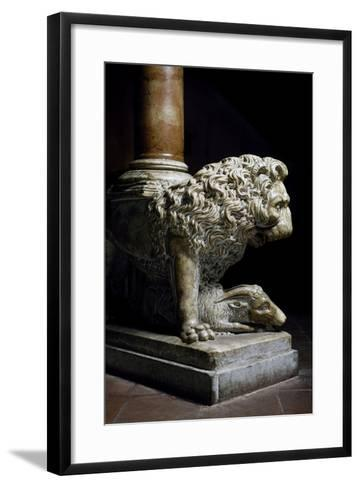 Lion Culmiferous, Pulpit, Wall, Church of St John Fuorcivitas, Pistoia, Tuscany, Italy,--Framed Art Print