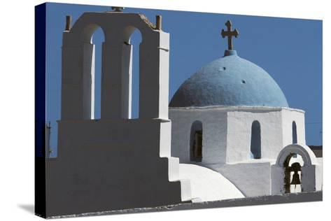 Church in Thira, Santorini Island, Cyclades, Greece--Stretched Canvas Print