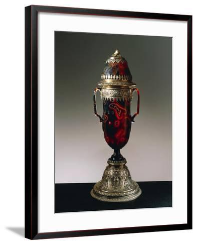 Sardonyx Vase with Cover, Silver Gilt Setting--Framed Art Print