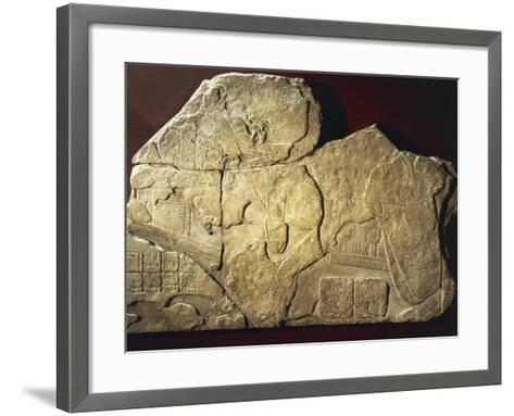 Jonuta Stone with Relief Depicting C Offering Birds with Phallic Symbol on His Chest--Framed Art Print
