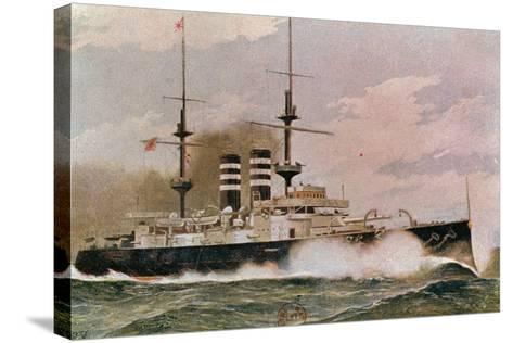 The Japanese Battleship Mikasa, Postcard--Stretched Canvas Print