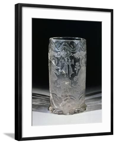 Tall and Wide Cylindrical Glass, with St Mary Magdalene and St Francis, Bohemia, 1777--Framed Art Print