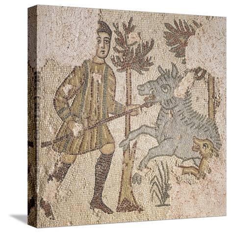 Mosaic Depicting Scene of Wild Boar Hunting, from Piazza Maria Immacolata in Taranto, Puglia--Stretched Canvas Print