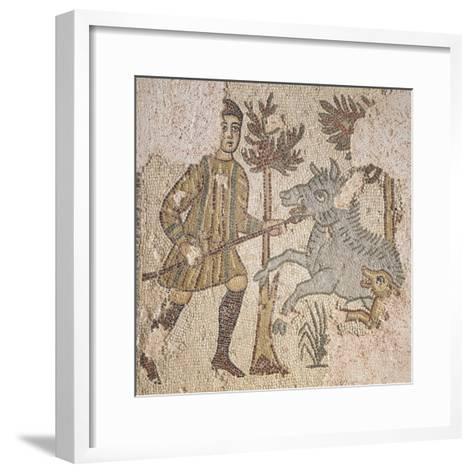 Mosaic Depicting Scene of Wild Boar Hunting, from Piazza Maria Immacolata in Taranto, Puglia--Framed Art Print
