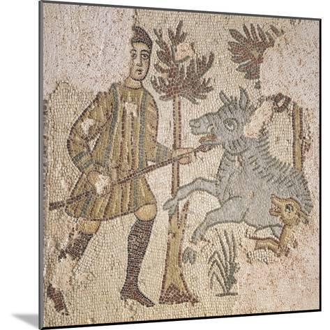 Mosaic Depicting Scene of Wild Boar Hunting, from Piazza Maria Immacolata in Taranto, Puglia--Mounted Giclee Print