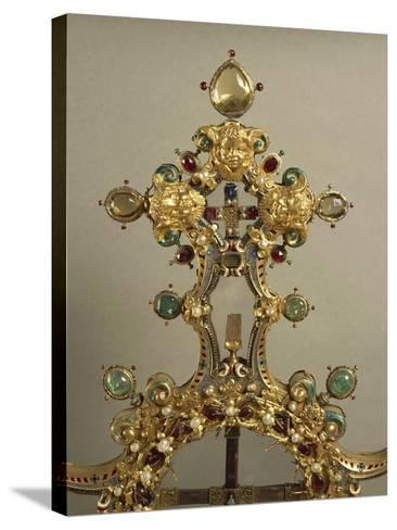 Detail of Gold and Gems Cross with Relics of Passion--Stretched Canvas Print