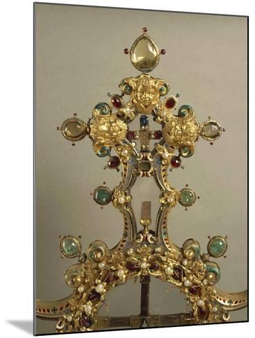 Detail of Gold and Gems Cross with Relics of Passion--Mounted Giclee Print