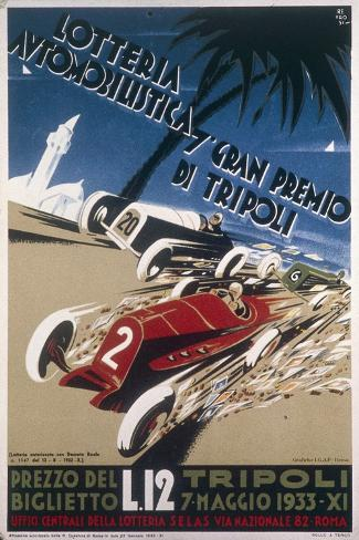 Automobile Lottery, Seventh Tripoli Grand Prix, May 7, 1933--Stretched Canvas Print