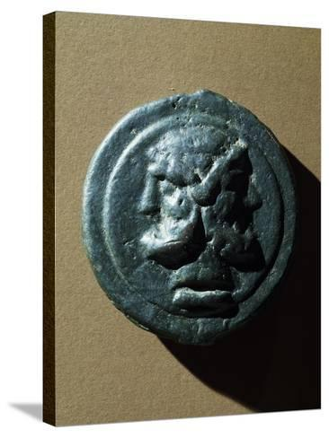 Copper Coin Bearing Image of Janus in Relief, Roman Coins--Stretched Canvas Print