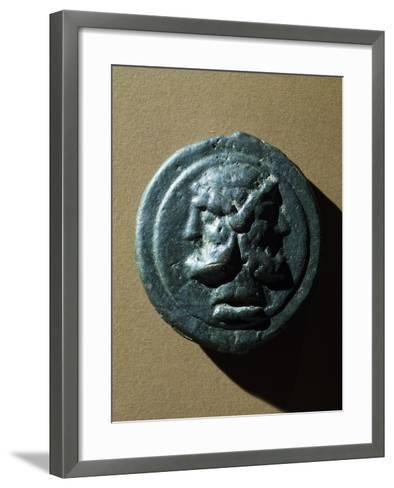 Copper Coin Bearing Image of Janus in Relief, Roman Coins--Framed Art Print