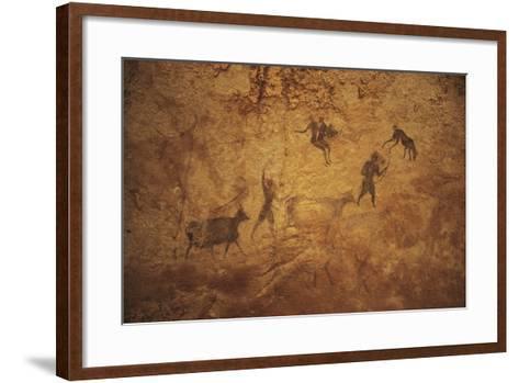 Algeria, Sahara Desert, Tassili-N-Ajjer National Park, Rock Carvings Depicting Daily Life--Framed Art Print