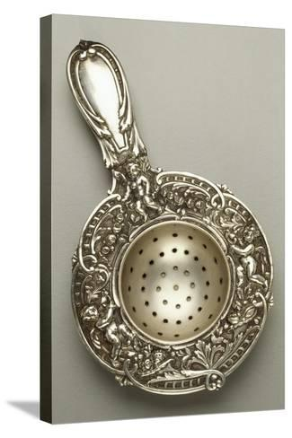 Silver Strainer with Cherubs, Chased and Embossed, 1880--Stretched Canvas Print