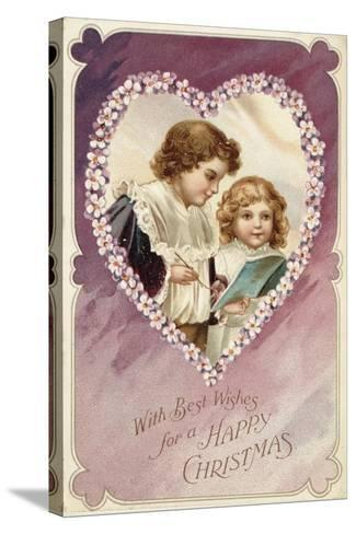 Victorian Christmas Postcard--Stretched Canvas Print