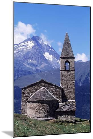 View of Church of St Pierre D'Extravache with Vanoise Massif in Background--Mounted Giclee Print