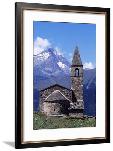 View of Church of St Pierre D'Extravache with Vanoise Massif in Background--Framed Art Print