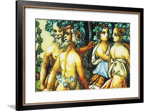 Plate Depicting Triumph of Bacchus, Ceramic, Patanazzi Workshop, Urbino, Marche, Detail--Framed Art Print