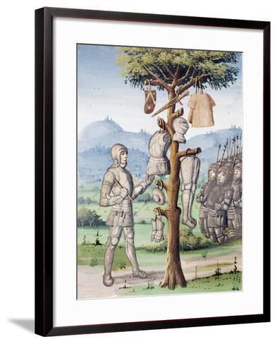 Aeneas Displaying Spoils of War Taken from Etruscan King Mezenzio--Framed Art Print